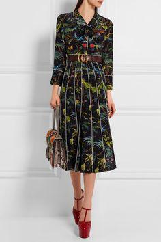 Gucci | Embellished printed silk crepe de chine midi dress | NET-A-PORTER.COM