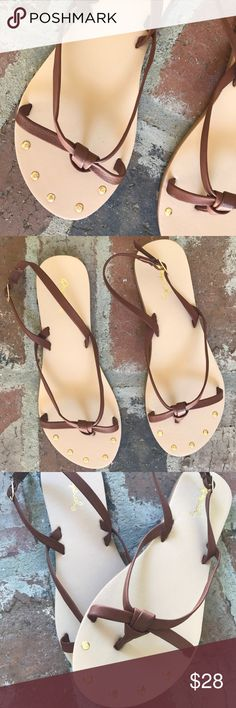 "Athena cognac knot sandals SO cute! These are so comfy on! Has a stylish, simple design. I will be wearing mine all summer. Has an adjustable strap around the ankle.                                                                                        Fits TTS Please use the ""buy now"" or ""add to bundle"" feature to purchase. Qupid Shoes Sandals"