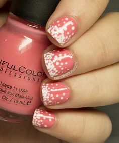 Polka Dots nail art: two color colour design: coral pastel pink orange (Sinful Colors Island Coral) with white (Barry M White) spots gradient Nails Opi, Shellac Nail Colors, Uk Nails, Dot Nail Art, Nail Art Blog, Polka Dot Nails, Polka Dots, Fancy Nails, Love Nails