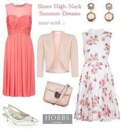 Orange Pink Sheer High Neck Floral Occasion Dresses