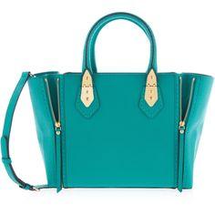 Henri Bendel A-List Satchel featuring polyvore, fashion, bags, handbags, green, leather satchel handbags, zipper pouch, green purse, blue handbags and leather zip pouch