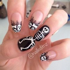 Are you looking for easy Halloween nail art designs for October for Halloween party? See our collection full of easy Halloween nail art designs ideas and get inspired! Manicure Nail Designs, Manicure E Pedicure, Cute Nail Designs, Skull Nail Designs, Animal Nail Designs, Pedicure Designs, Manicure Ideas, Frensh Nails, Diy Nails
