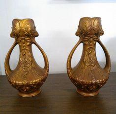 Een stel verbronsd samac vazen in Art-Nouveau - Frankrijk - ca 1900