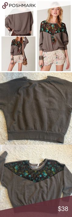 Free people pullover batwing sweater floral lace GUC due to some piling on sweater with normal wear but overall no holes, stains Free People Sweaters