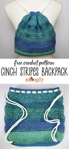 The Cinch Stripes Backpack is a simple bag featuring some of my favorite half double crochet variations! With easy rope straps, you'll love making this free one skein crochet pattern on Moogly! Featuring Red Heart Roll With It Tweed! #freecrochetpattern #mooglyblog #crochetbags #crochetbackpacks #yarnspirations #redheartyarns #rollwithittweed #oneskeincrochet One Skein Crochet, Easy Crochet Hat, Crochet Hook Case, Free Crochet Bag, Crochet Cross, Crochet Purses, Easy Crochet Patterns, Crochet Designs, Double Crochet