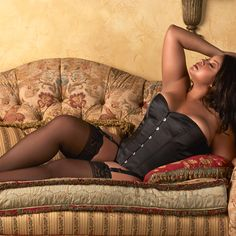 Captivate your sweetie's attention in our gorgeous plus size Aria Satin Corset and our plus size thigh high stockings!