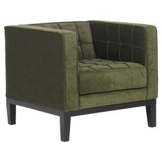 Midcentury-inspired tufted arm chair with a wood frame.       Product: ChairConstruction Material: Wood, foam and fab...
