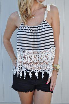 Striped Lace Trim Top – Lola Jeannine