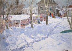 """Winter Laundry Line, 1965"" Nikolai Efimovich Timkov"