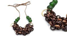 Glass Beads & Wooden Links Necklace  By  natalie frigo  ($135)