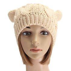 Women Ladies Crochet Knitted Cat Ear Devil Slouch Beanie Hat Winter Warm Cap