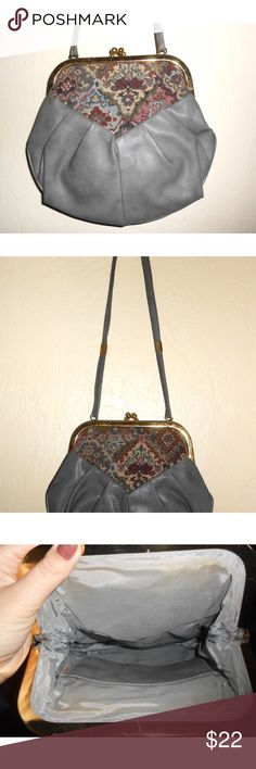 1980's vegan leather tapestry mini-crossbody bag Description is in the last photo :).  Super cute and comfy  :)! Bags Crossbody Bags