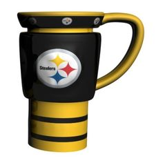 NFL Pittsburgh Steelers Sculpted Travel Mug, 15-Ounce, Yellow by Boelter. $24.69. Team spirit starts with the first cup of coffee, tea, or hot chocolate! Drink your favorite beverage with a beautifully sculpted ceramic Travel Mug from Boelter Brands. Decorated with bright and colorful team graphics. Sculpted designs are sure to catch the eye of those at the breakfast table or in the office. Sculpted travel mugs feature team logo and plastic top lid. Officially licens...