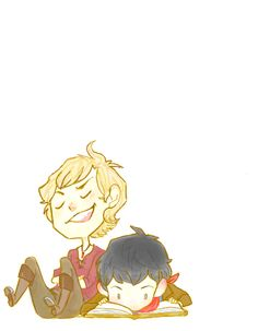 Chibi!Merlin and Arthur. <3 (by weaslee)