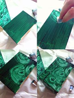 {DIY} Faux Malachite Boxes Tutorial - I wonder how this would work on a stretched canvas......