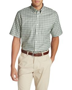 Men's Wrinkle-free Relaxed Fit Short-sleeve Oxford Cloth Shirt - Pattern | Eddie Bauer