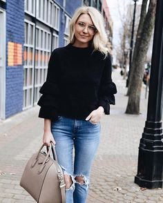 Play up your trumpet flare sleeves and destroyed denim for a romantic upgrade a la @somewherelately's tiered #LTKunder50 ruffles | Get ready-to-shop details with www.LIKEtoKNOW.it | http://liketk.it/2q5pK #liketkit