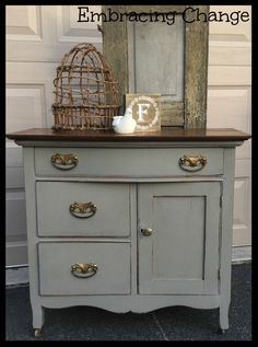 Miss Mustard Seed Milk Paint color: Schloss .   Washstand Makeover - Embracing Change