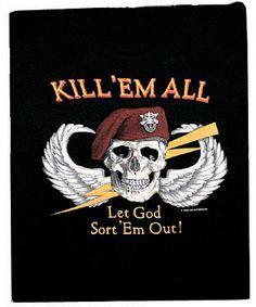 Kill /'Em All Let God Sort It Out Black Metal License Plate Frame Tag Holder