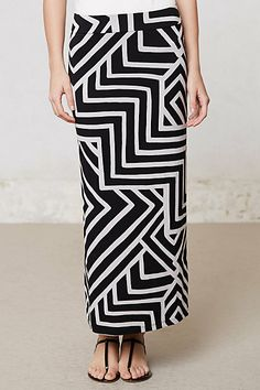 Maybe I could make it, but it would be easier to buy it.  It's stretchy. Fractured Maze Midi Skirt #anthropologie