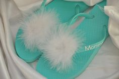 5f4da676b Custom Wedding MARABOU PUFF Flip Flops