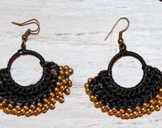 woven earrings, Tribal earrings,Brass Beads Handmade, woven earrings , macrame earrings, hoop earrings, tribal earrings