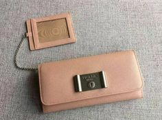 2016 SS Prada Saffiano Lock leather wallet nude