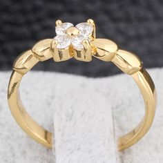 Chic 18K Gold Plated Fashion Clover Shape Inlay White Zircon Copper Ring Two Sizes for Women