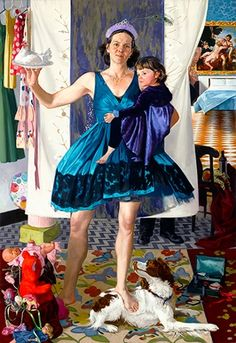 Many painters depict themselves, but few work exclusively in the genre of self-portraiture. Selections from Haley Hasler's body of work—the artist in costumes of everyday life. Nostalgia Art, Bo Bartlett, Alex Colville, Fine Art Drawing, Audrey Kawasaki, Art Station, Art For Art Sake, Mother And Child, Figure Painting