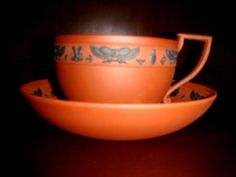 Antique Wedgwood Rosso Antico Egyptian Motif Cup and Saucer.Wedgwood only.