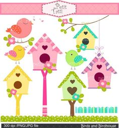Digital clip art., instant download bird clip art, Birds and Birdhouse, Birds, flowers,birdhouse