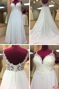 Plus Size Lace & Chiffon A Line Wedding Dress with V-Neckline and Low Illusion Back V Neck Wedding Dress, Wedding Gowns, Wedding Planning, Wedding Ideas, Lace Chiffon, Bridal Suite, Yes To The Dress, Plus Size Wedding, Elegant Dresses