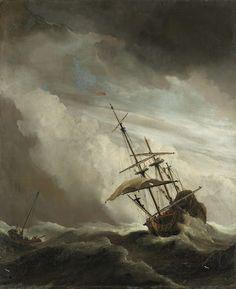 Een schip in volle zee bij vliegende storm, bekend als 'De windstoot', Willem van de Velde (II), 1650
