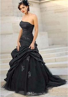 2016 Vestido De Noiva Wedding Dresses With Strapless Lace Taffeta Beaded Tulle Lace Up Black Gothic Bridal Gowns Wedding Gown Designs Alternative Wedding Dresses From Angellove_wedding, $143.22  Dhgate.Com