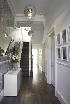 Hallway lighting ideas stairway lighting ideas for modern and contemporary interiors home design house hallway decorating . House Design, New Homes, House Styles, White Walls, House Interior, Foyer Decorating, Home, Hallway Designs, Hallway Lighting