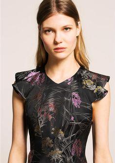 Black jacquard mini dress femme - tara jarmon 1