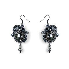 Grey earrings soutache earrings beaded earrings embroidered