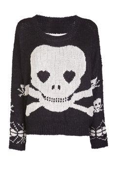 Black Skull Print Fluffy Top