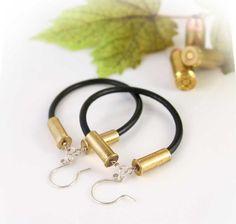 Items similar to Bullet Earrings, 22 Caliber, Pistol Earrings, Leather Cord Hoops on Etsy Bullet Casing Jewelry, Bullet Earrings, Diy Earrings, Leather Earrings, Ammo Jewelry, Wire Jewelry, Craft Jewelry, Diy Jewellery, Jewelry Ideas