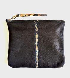 Tie Dye & Black leather Clutch