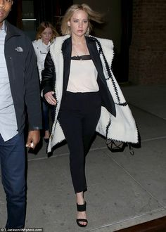 Night out: Jennifer Lawrence was spotted heading to see Hamilton on Broadway in New York C...