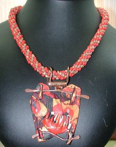 MIXED MEDIA KUMIHIMO Necklace and Pendant. $60.00, Silver Seahorse via Etsy.