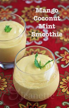 Mango Coconut Mint Smoothie Recipe!   via @Jeanette | Jeanette's Healthy Living   #Healthy #Smoothie #SlimmerSummer
