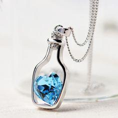 Halskette mit Herz Flaschen Anhänger Wunschflasche Blau Liebe Partner Kette