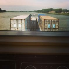 Maersk Line containers as viewed from the deck of a ship in Holland.