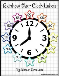 Classroom Clock, Classroom Ideas, Clock Labels, Star Students, Rainbow Star, Second Grade Math, School Posters, Reading Passages, Telling Time