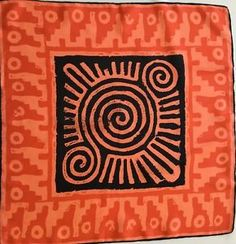 Vintage Vera 1970's Orange and Back Abstract Silk Scarf w Hand Rolled Hem | eBay