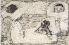 이중섭. 세사람 (1942-1945) 종이에 연필, 18.2x28cm