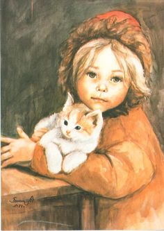 No known title -- Danuta Muszynska-Zamorska, Polish, Art And Illustration, Love Art, Cat Art, Pet Birds, Collage Art, Art Sketches, Art Girl, Art For Kids, Portraits