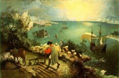 Landscape with the Fall of Icarus is a large painting from the that hangs in Belgium's largest museum, the Musée des Beaux Arts – and is held to be a meticulous copy of an original (now lost) work by the Flemish artist Pieter Bruegel the Elder. Renaissance Kunst, Renaissance Paintings, Italian Renaissance, Oil On Canvas, Canvas Art, Canvas Prints, Canvas Size, Pieter Brueghel El Viejo, Renoir